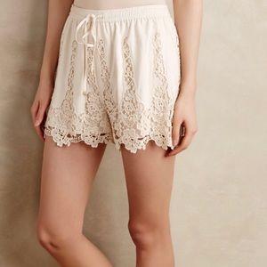 Anthropologie | Filigree lace shorts